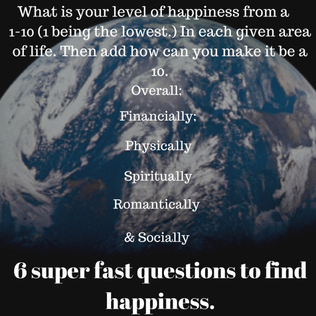 What is your level of happiness from a 1-10 (one being the lowest.) In each given area of life.