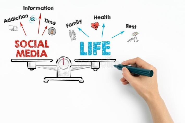 social-media-life-balance-chart-keywords-icons-white-background-social-media-life-balance-chart-keywords-103030448